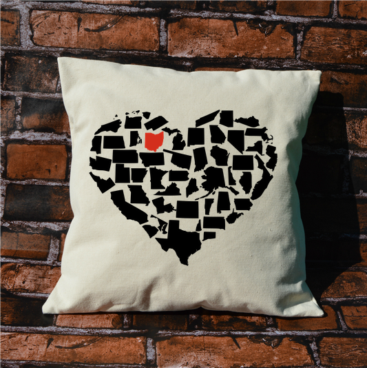 Custom State Heart Pillow