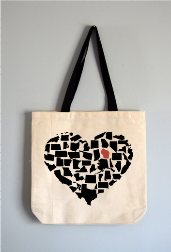 Custom State Heart Tote Bag