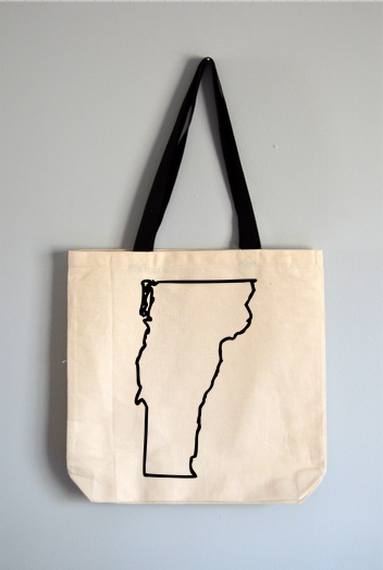 Vermont Outline Tote Bag