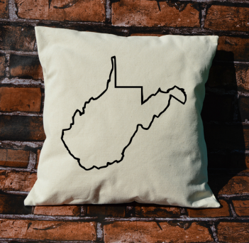 West Virginia outline pillow