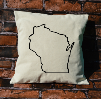 Wisconsin outline pillow