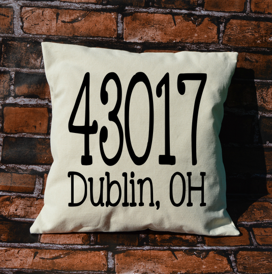 Custom Zipcode and City Pillow