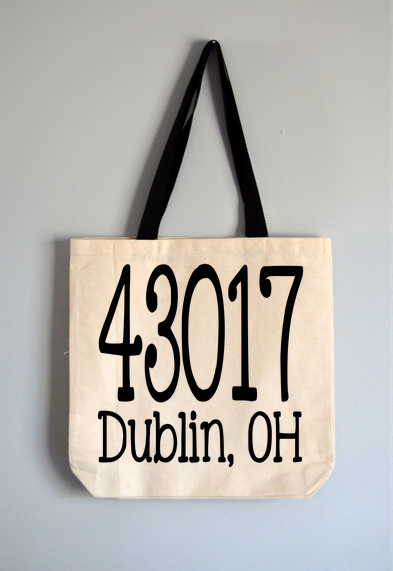 Custom Zipcode and City Tote Bag
