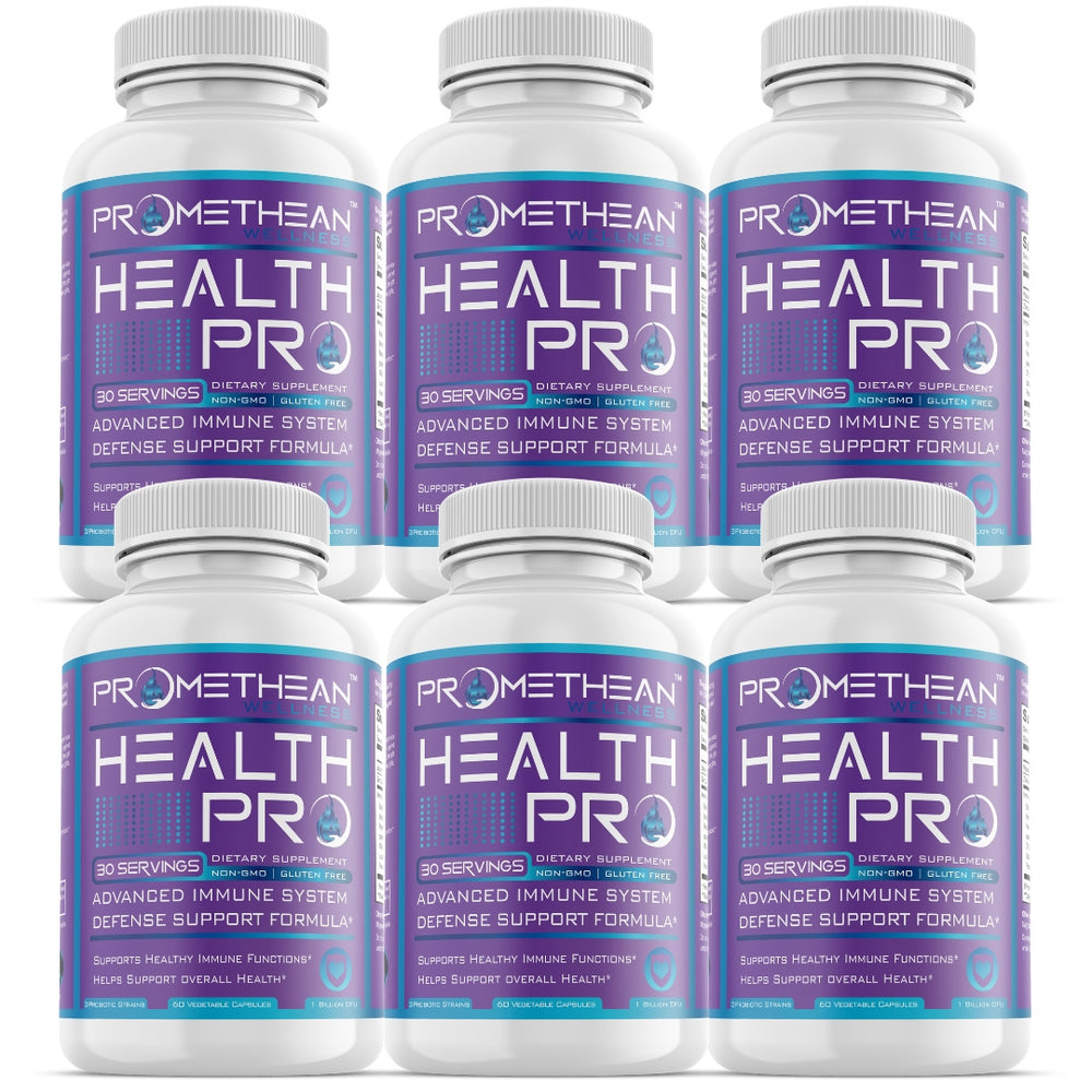 (6 Bottles - 60ct Capsules) Health Pro Immune Booster with Vitamin C, Zinc, Elderberry, Echinacea, Triple Probiotics & More