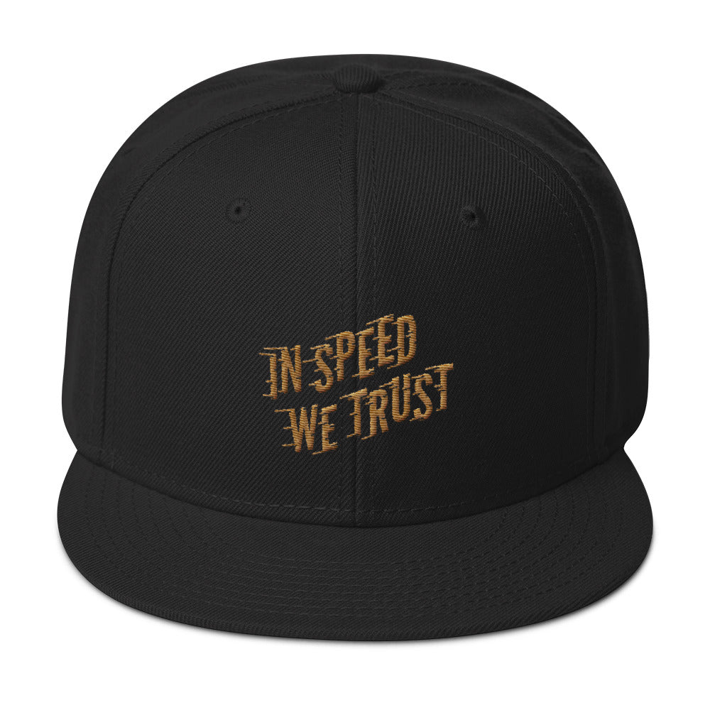 In Speed We Trust Snapback Hat In Black