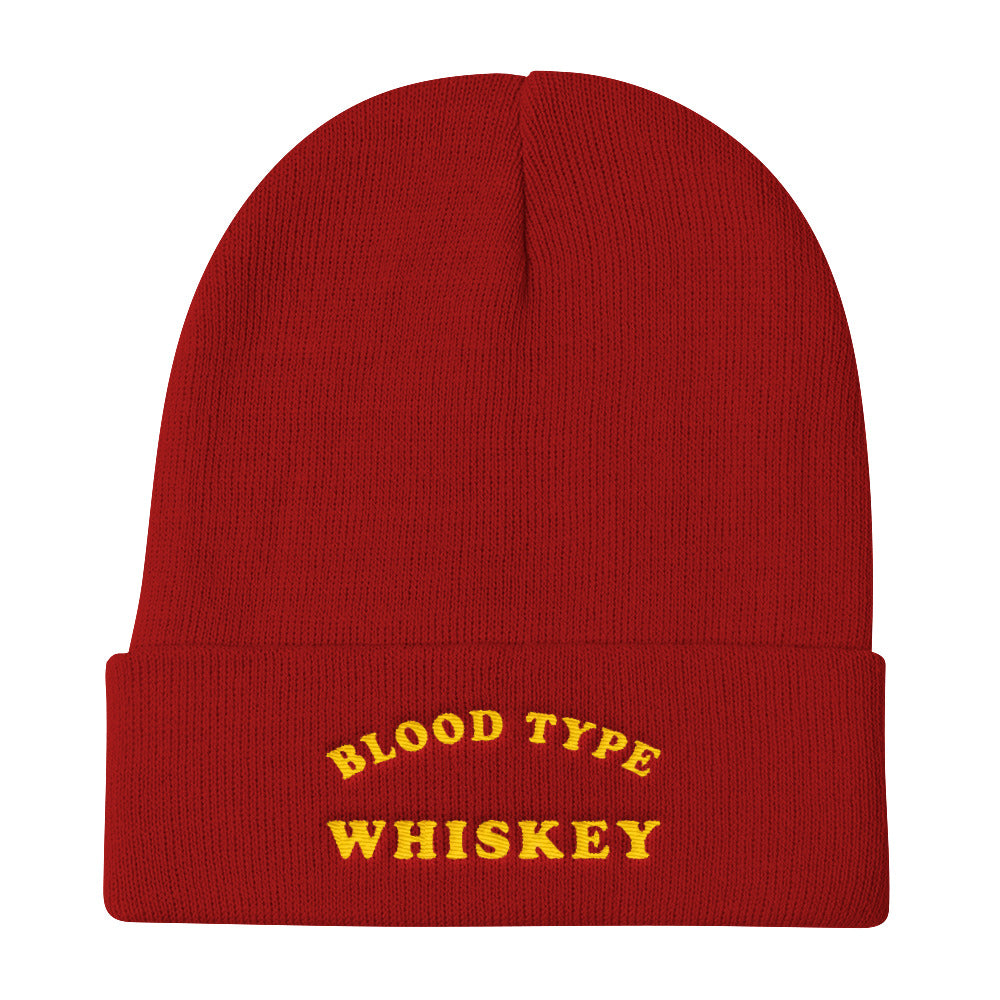 Blood Type Whiskey Knit Beanie In Dark Red
