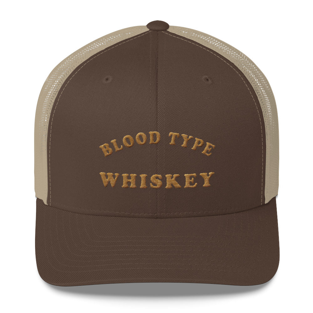 Blood Type Whiskey Retro Trucker Cap In Brown