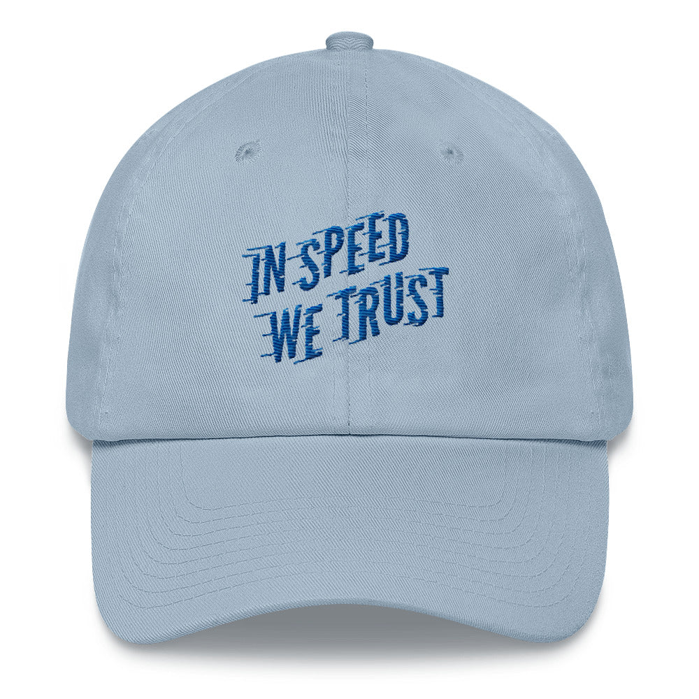 In Speed We Trust Dad Hat In Blue