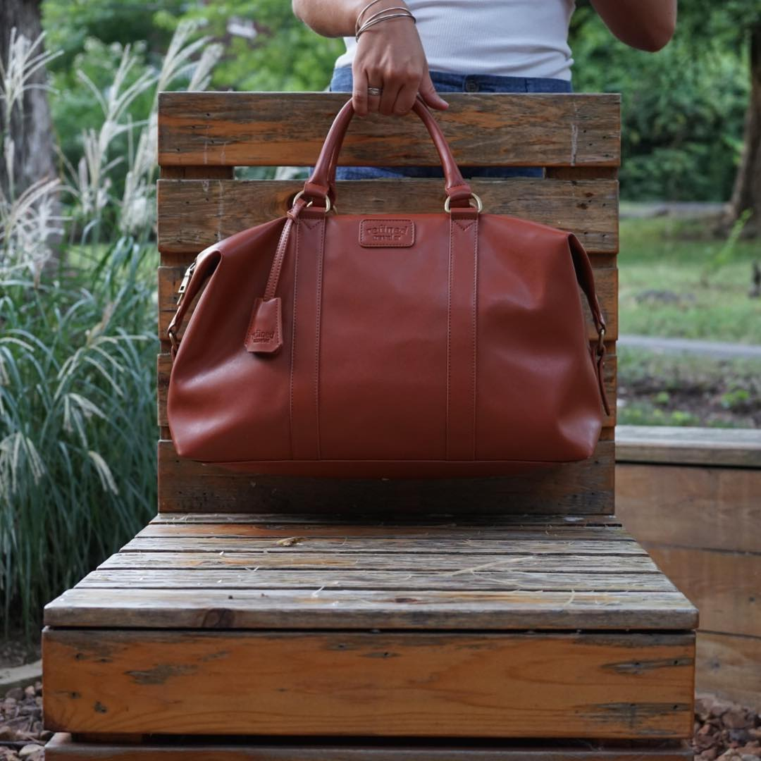 vegan leather duffel bag header image