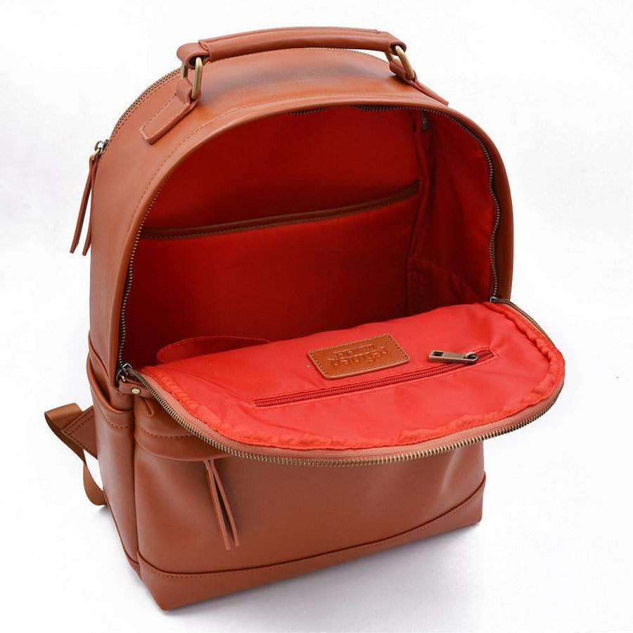 Interior view of tan vegan leather backpack by Refined Traveler
