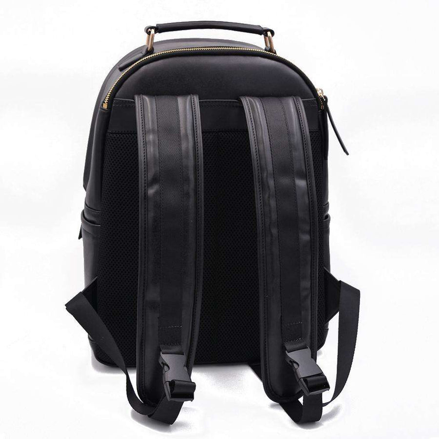 View of backpack straps on black vegan leather backpack by Refined Traveler