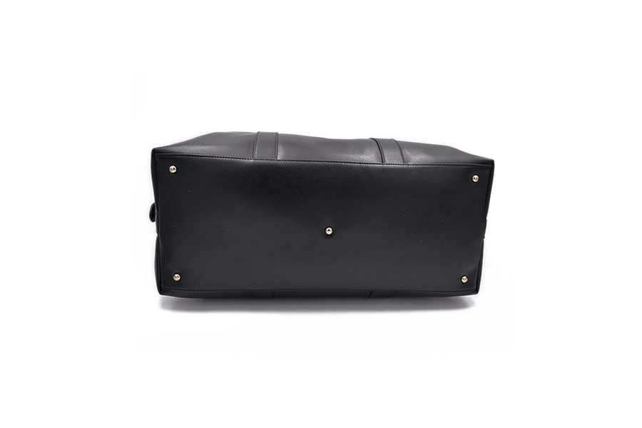 Bottom view of black vegan leather duffel bag by Refined Traveler