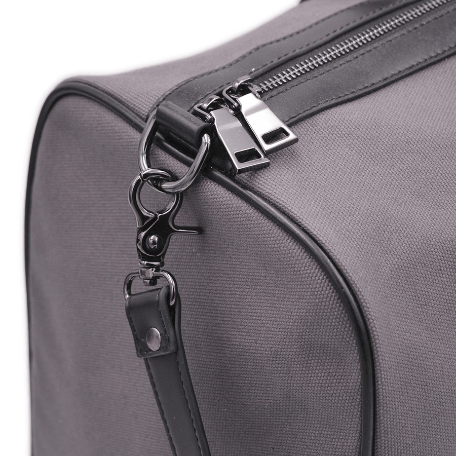 Zipper close up of vegan duffel bag by Refined Traveler