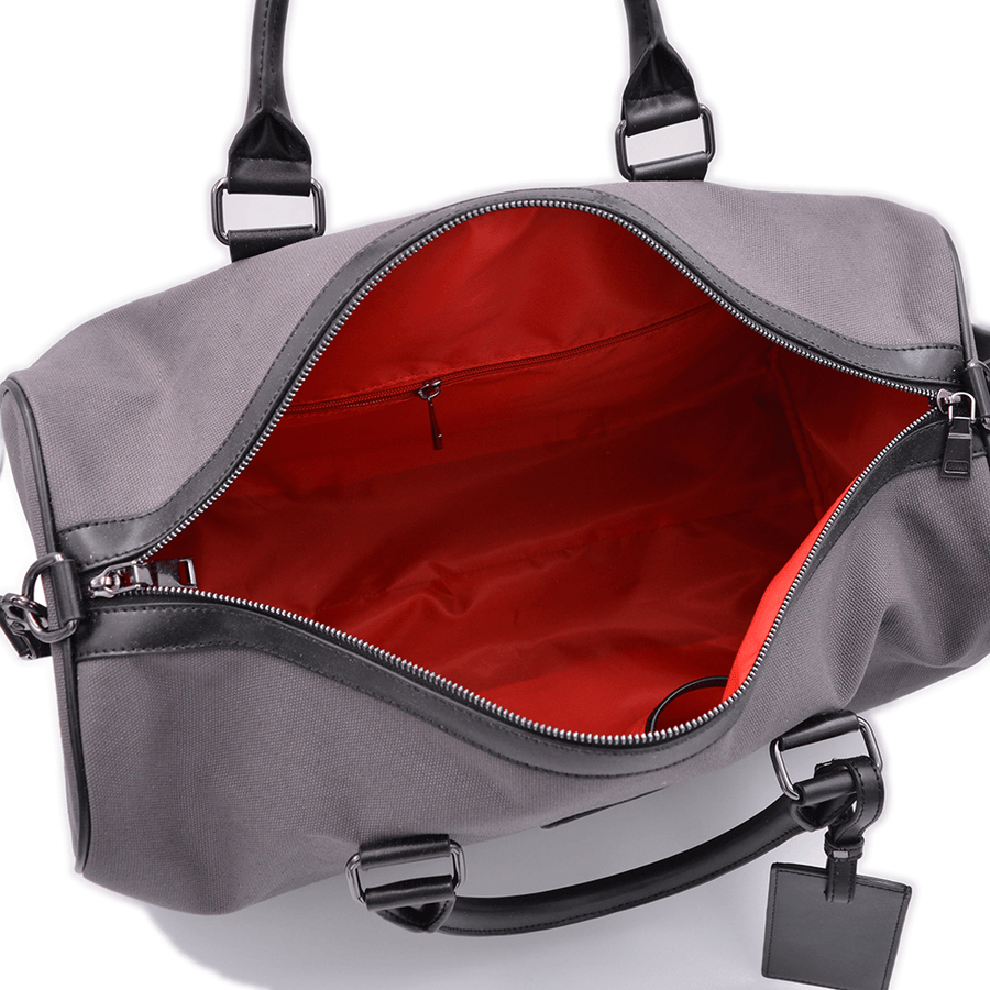 Inside view of vegan duffel bag by Refined Traveler