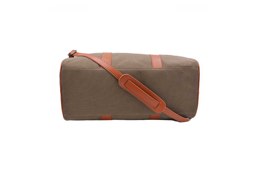 Bottom view of vegan duffel bag by Refined Traveler