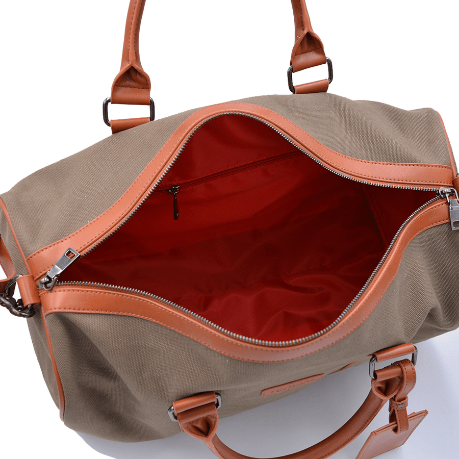 Interior view of vegan duffel bag by Refined Traveler