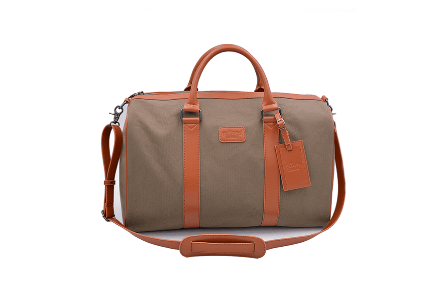 Full frontal image of vegan duffel bag by Refined Traveler