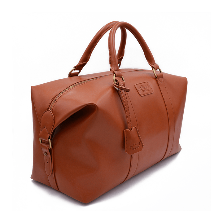 Full view of tan vegan leather duffel bag by Refined Traveler