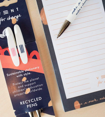 Vent For Change HOME | CL 2 Blue Recycled Plastic Pens For Ideas