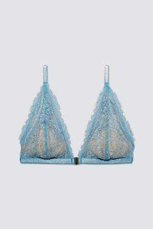 Underprotection LINGERIE & NIGHTWEAR | Womens Amy Recycled Polyester Lace Bra Pale Blue