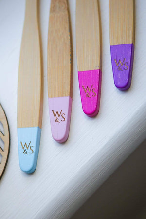 Wild & Stone BATHROOM | CL Bamboo Candy Colour Kids Toothbrushes (Soft, BPA-Free Bristles) - 4 Pack