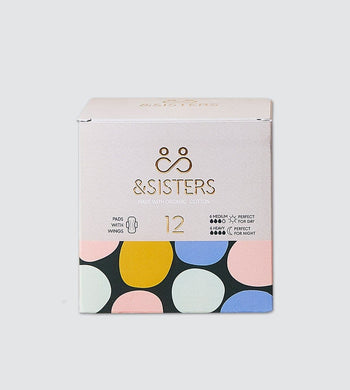 &SISTERS BATHROOM | CL Biodegradable Organic Cotton Pads with Wings (12 Pack) - Mixed Day/Night