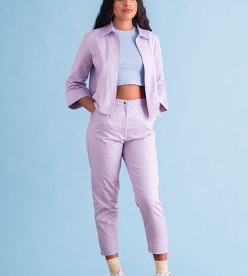 Bobbie Surplus Fabric Cotton Twill Suit Lilac TROUSERS & JEANS | WOMENS Ilk and Ernie