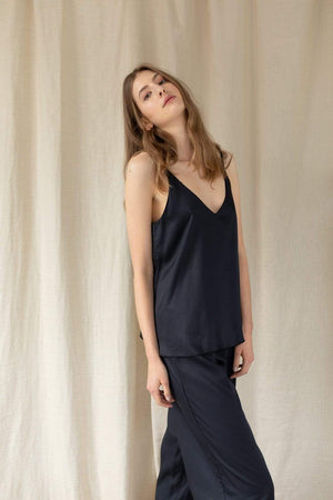 ADVA TOPS | Womens 'Calling For Spring' Bamboo Viscose Cami Black
