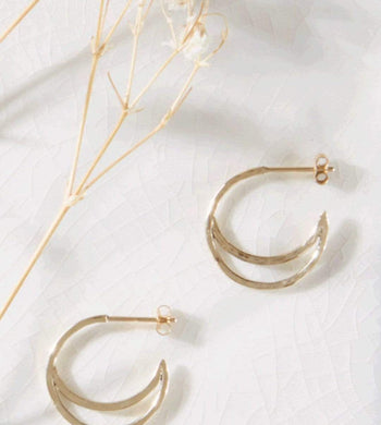 Kind ACCESSORIES | Womens Crescent Lune Hoop Earrings Gold