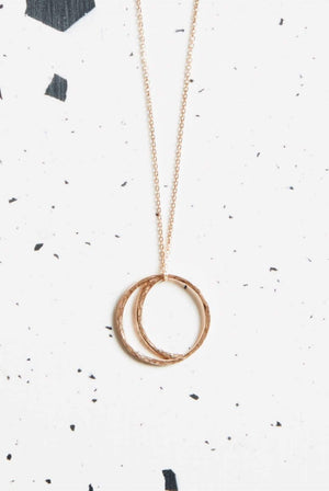 Kind ACCESSORIES | Womens Crescent Lune Pendant Necklace 9ct Rose Gold