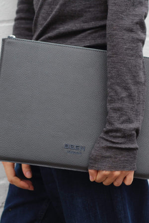 BEEN BAGS | Womens Dalston Recycled Leather Laptop Case Black Sand
