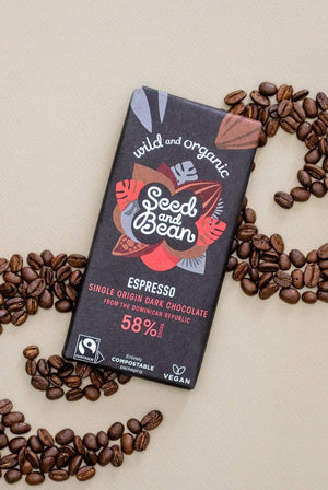 Seed and Bean GIFTING | CL Dark 58% Coffee Espresso Fairtrade & Organic Chocolate Bar 85g