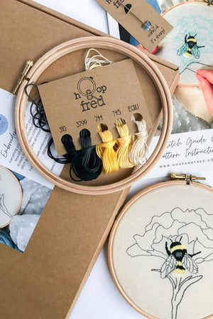 DIY Embroidery Craft Kit - Bee Design HOME | CL Hoop and Fred