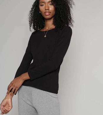 People Tree T-SHIRTS | Womens Fallon Long Sleeve Organic Cotton Black Top