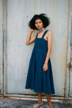 Float Handwoven Cotton Reversible Dress Indigo DRESSES & JUMPSUITS | Womens Seeker X Retriever