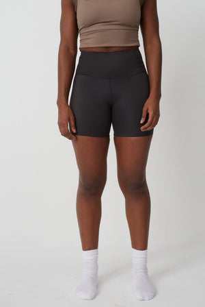 Studio Ehr Activewear High Waist Italian Regenerated Nylon Active Shorts Liquorice