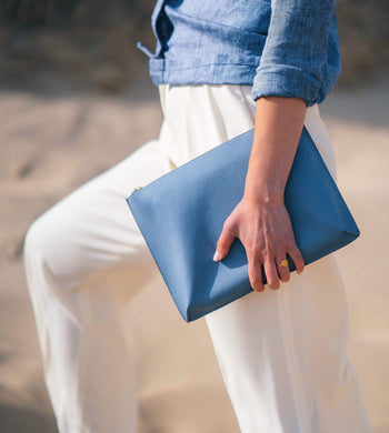 BEEN BAGS | Womens Hoxton Recycled Leather Clutch Calm Sea