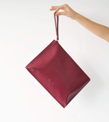 BEEN BAGS | Womens Hoxton Recycled Leather Clutch Red Wine