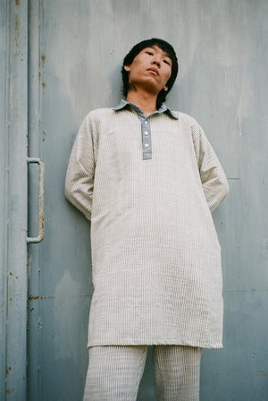 Leisure Handwoven Cotton Tunic Shirt Indigo Stripe DRESSES & JUMPSUITS | Womens Seeker X Retriever