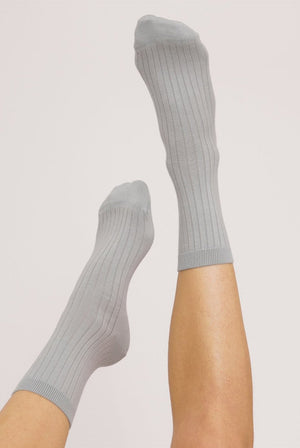 Organic Cotton Rib Socks Cloudy Blue (2 Pack) ACCESSORIES | Womens Organic Basics