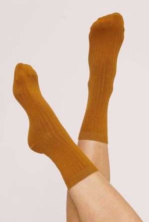Organic Cotton Rib Socks Ocher (2 Pack) ACCESSORIES | Womens Organic Basics