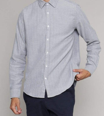 ISTO SHIRTS | Mens Organic Cotton Twill Midweight Flannel Shirt Blue