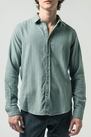 ISTO SHIRTS | Mens Organic Cotton Twill Midweight Flannel Shirt Green