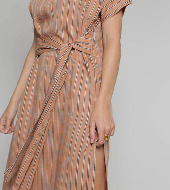 ADVA DRESSES & JUMPSUITS | Womens Power Tencel Wrap-Style Dress Natural Stripe