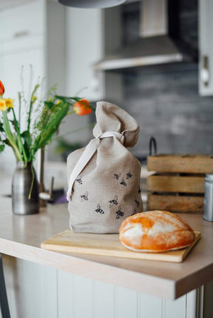 Helen Round KITCHEN | CL Pure Linen Bread Bag Bee Design