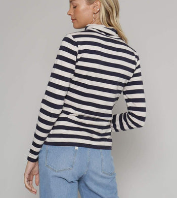 Thought T-SHIRTS | Womens Rainer High Neck Navy Stripe Top
