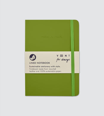 Vent For Change HOME | CL Recycled Leather A5 Lined Notebook Green