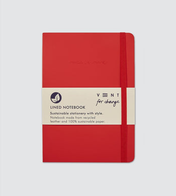 Vent For Change HOME | CL Recycled Leather A5 Lined Notebook Red
