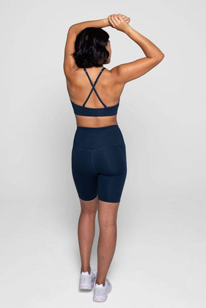 Girlfriend Collective ACTIVEWEAR & LOUNGEWEAR | Womens Recycled PET High-rise Bike Short Midnight