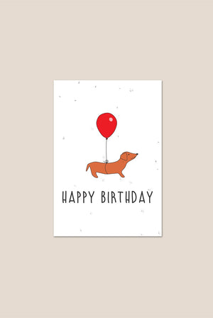 Sausage Dog 'Happy Birthday' Seed Plantable Card GIFTING | CL Plantr Cards